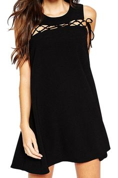 Solid Color Lace-Up Sundress