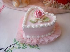 Faux Heart cake with Pink Rose