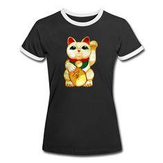 Geschenke Shop   Manekineko Glücks Katze Winke Katze - Frauen Kontrast-T-Shirt T Shirt Designs, Shirt Diy, Cat Women, Funny T Shirts, Contrast Color, Tee Shirt Designs