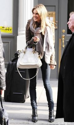 Alessandra Ambrosio wearing layers and Chloe Paraty bag. <3 Fashion Style