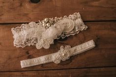 Wedding Garter Set / Bridal Garter Set / Lace Garter / Vintage-inspired Garter 75 by VeilsAndHeadpieces on Etsy