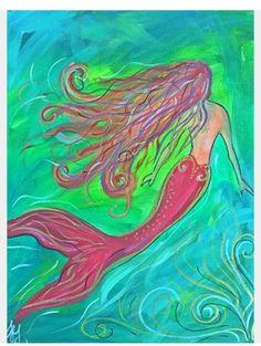Unicorns And Mermaids, Mermaids And Mermen, Fantasy Mermaids, Real Mermaids, Watercolor Canvas, Canvas Art, Mermaid Drawings, Mermaid Paintings, Mermaid Artwork