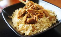 Slow Cooker Asian Pulled Pork over Rice 2-3 lbs of pork roast (shoulder, picnic, butt, or boston cuts work well), trimmed of excess fat  1 cup water  1/2 tsp Shirley J chicken bouillon or 1 tsp regular chicken bouillon granules  1 onion, cut into large chunky slices  1/4 cup soy sauce  1 Tbsp Worcestershire sauce  1 tsp minced garlic  1 Tbsp brown sugar  2 Tbsp oyster sauce