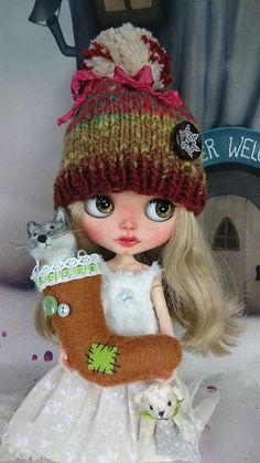 BLYTHE Doll Knit Hat zimní slunce od Glitterbug