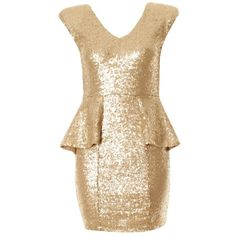 Gold Sequin Peplum Dress with Padded Shoulders ($69) ❤ liked on Polyvore