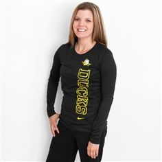 Women's Nike Black Oregon Mascot Long Sleeve Dri-FIT Top
