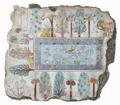 [Unknown, Garden of Nebamun (Pond in a Garden), ca. 1400-1350 BC, Paint on plaster wall, New Kingdon, Dynasty XVIII, Egyptian Art]