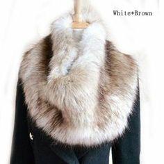 GT-Dress Stylish Womens Fluffy Winter Faux Fur Collar Scarf Shawl Wraps Shrug Neck Warmer Stole: Amazon.co.uk: Sports & Outdoors