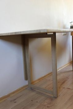 Wall folding table in solid oak Wall mounted drop leaf table Dining table Space saving furniture Fold down desk Fold Down Desk, Drop Down Table, Fold Down Table, Drop Leaf Table, Wall Mounted Folding Table, Laundry Room Folding Table, Folding Walls, Folding Table Diy, Folding Furniture