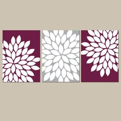 Maroon Gray Wall Art Bedroom Kitchen Wall Art CANVAS by TRMdesign