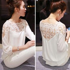 shirt embroidery Picture - More Detailed Picture about 2015 New Summer Plus Size Blouse Women Casual Chiffon Lace Blouse Loose Stitching Lace Long Sleeve Ladies Shirt Blusas Picture in Blouses & Shirts from ShejoinSheenjoy Bodycon Store Mode Inspiration, Lace Tops, Blouse Designs, Blouses For Women, Cheap Blouses, Shirt Blouses, Ideias Fashion, Outfits, Dresses