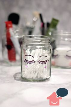 pintar potes de vidro com cílios