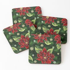 """Red & Green Christmas Floral"" Coasters (Set of 4) by HavenDesign 