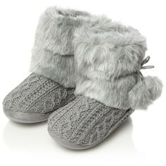 Grey cable knitted faux fur boot slippers ($26) ❤ liked on Polyvore