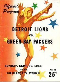 City Stadium program. Green Bay Packers vs. Detroit Lions. 1956.