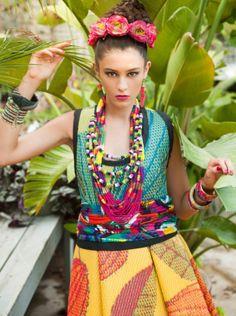 Frida Kahlo inspired Korhani Home's spring 2013 outdoor rug collection (shown on model)