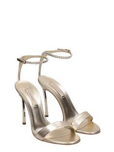 f6e4515cbab Casadei Crystals Gold Calf Leather Sandals - gold Calf Leather