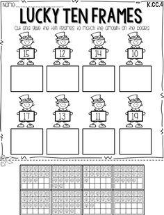 free shamrock ten frames worksheet for teen numbers kindergarten math pinterest math. Black Bedroom Furniture Sets. Home Design Ideas
