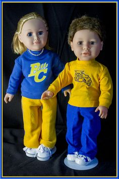 """Custom School or Logo T-Shirt for American Girl Doll or American Boy 18"""" Dolls! Long Sleeve T-Shirt & Pants Outfit for 18 inch Boys or Girls by GreenGranny2014 on Etsy"""