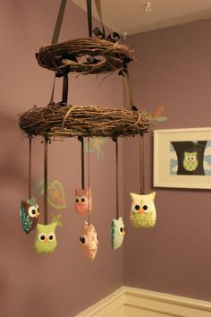 DIY Owl Mobile. I don't have little ones anymore but this is such a cute idea!