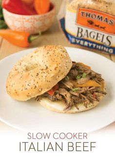 Slow Cooker Italian Beef: Colder weather calls for comfort foods, and this Slow Cooker Italian Beef is as comforting as it gets. Make the beef in a slow cooker, pile it atop a Thomas' Everything Bagel with Provolone and sweet peppers, and enjoy!