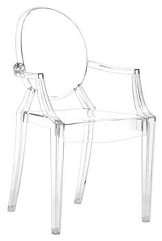 Modern Louis XIV Arm Chair in Clear Silver - Set of 4