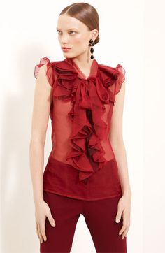 Oscar de la Renta Silk Organza Blouse available at #Nordstrom - CAD 924.52