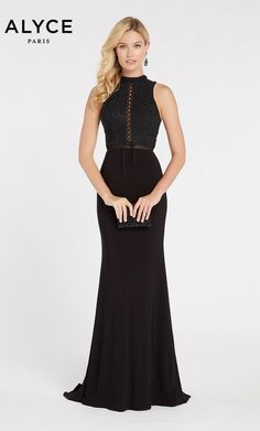 e7f276c90a Alyce Paris Style 60320 Fitted Diamond Lace Jersey Dress With Front Lace Up  And High