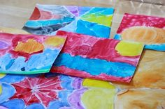 This glue resist art project for kids combines the kid favorite of squeezing out glue designs with the watercolor technique of glue resist.
