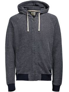 DETAILED HOODED ZIPPED SWEAT, Total Eclipse