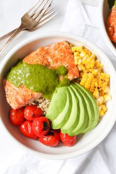 Summer Quinoa Bowl with Grilled Salmon and Basil Vinaigrette