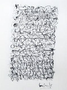 """Asemic writing : Gabriel Lalonde ( Quebec) """"Écriture liquide / à coups d'oiseaux amers"""" 2012"""