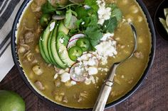 This Mexican soup has a spicy base featuring tomatillos, jalapeños and poblano peppers and also includes hominy and tender pork shoulder. Pozole Recipe Pork, Pork Posole, Pork Soup, Pork Recipes, Mexican Food Recipes, Diet Recipes, Pork Verde, College Cooking, Diet Food List