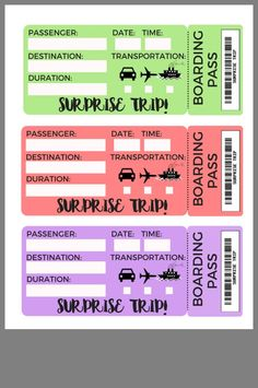 Flight tickets If you like this surprise travel trip. Check others on my surprise vacation board :) Thanks for sharing!