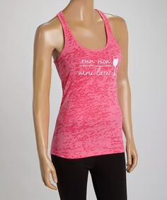 This Pink 'Run Now Wine Later' Racerback Tank by My Little Monkeys is perfect! #zulilyfinds