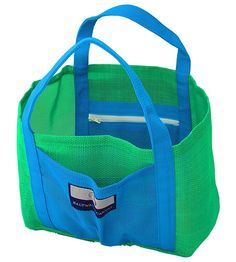 Child Small Mesh Beach Bag – 2 zippers, hand carry, Green and Blue ** You can get more details by clicking on the image.
