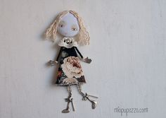 Young Girl Art doll brooch Personalized gift for her by miopupazzo