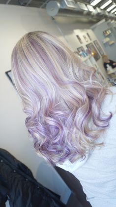 Lavender highlights with blonde hair