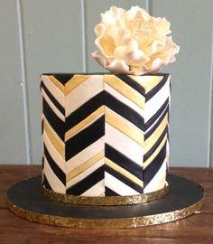 Jessica Harris Inspired gold chevron cake with white peony! www.madammacaron.com