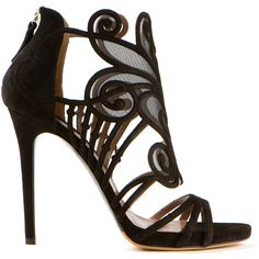 Tabitha Simmons Black Suede Aura Sandals ($485) ❤ liked on Polyvore featuring shoes, sandals, heels, sapatos, zapatos, zipper shoes, decorating shoes, suede shoes, high heel sandals and black sandals