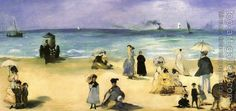Edouard Manet : On the beach at Boulogne
