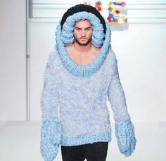 """the emphasis on the head and hands by using the oversized knit and in such a cool light colour makes the """"sweater"""" unbalanced and unflattering. GTF"""