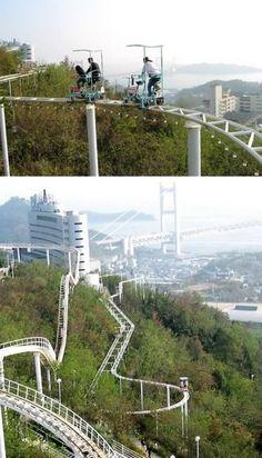 Nieuwe Japanse achtbaan met fietsen!!! COOLL!! Washuzan Highland Park in Okayama, Japan.