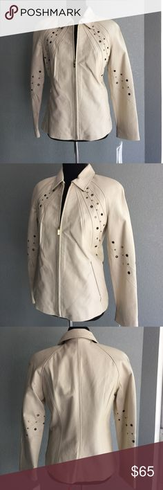 Beautiful Pamela McCoy leather blazer jacket sz XS NWT jacket. Very nice cream color. With gold accents. Seems to show little discoloration on zipper see pic. Pamela McCoy Jackets & Coats Blazers