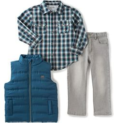 Calvin Klein Little Boys Shirt Vest and Jeans Pants Set Blue 6 * Read more reviews of the product by visiting the link on the image.Note:It is affiliate link to Amazon.
