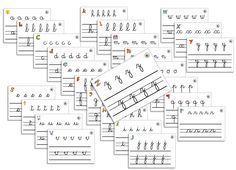 26 fiches-ardoises d'entrainement graphique : les minuscules cursives ~ Elau