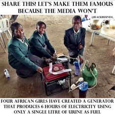 Think of all the power that could be generated in an office building with a commercial version of their many years old invention. By Any Means Necessary, Power Generator, Faith In Humanity Restored, Black History Facts, African Girl, African American History, Women In History, Look At You, Black Power