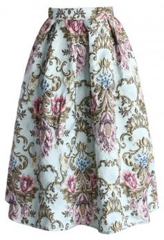 My Fair Lady Baroque Embroidery Midi Skirt - Bottoms - Retro, Indie and Unique Fashion