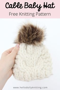 Free Baby Hat Knitting Pattern - Knit this super easy cable beanie Baby Hat Knitting Patterns Free, Knit Patterns, Free Knitting, Baby Knitting, Baby Hut, Knit Crochet, Crochet Hats, Cable Knit Hat, Beanie