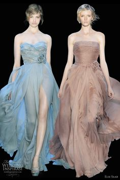 Soft colours, these dress seem very ethereal like.Great spin on the typical bridesmaid dress